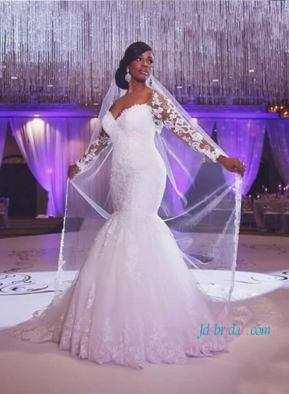 H1218 Sexy sweetheart neck mermaid lace wedding dress