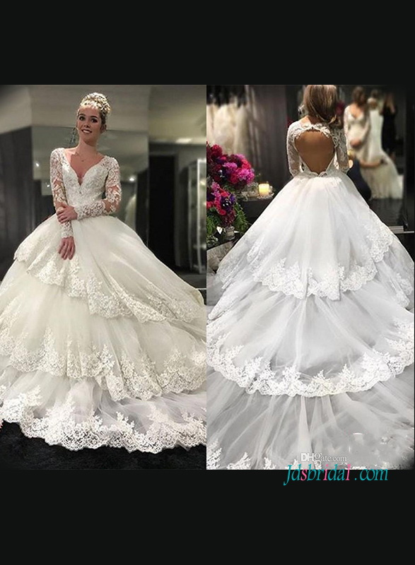 4345dbb3c4 H1219 Sexy open back illusion lace tiered ball gown wedding dress