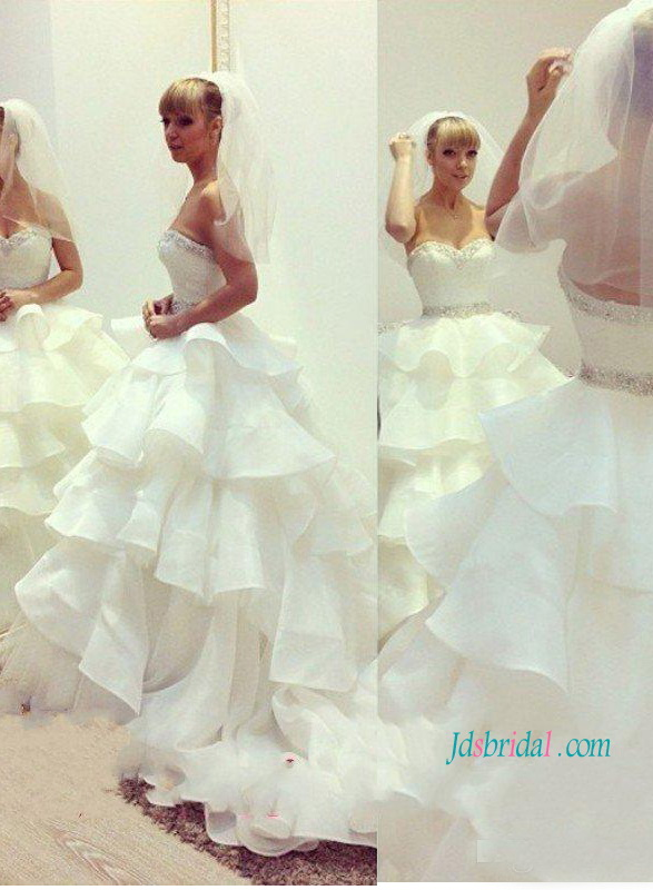 H1220 Gorgeous strapless tiered organza ball gown wedding dress