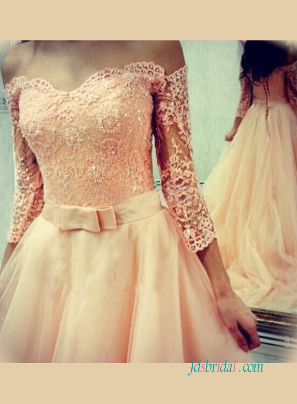 H1227 Sweetheart lace bodice blush tulle wedding dress