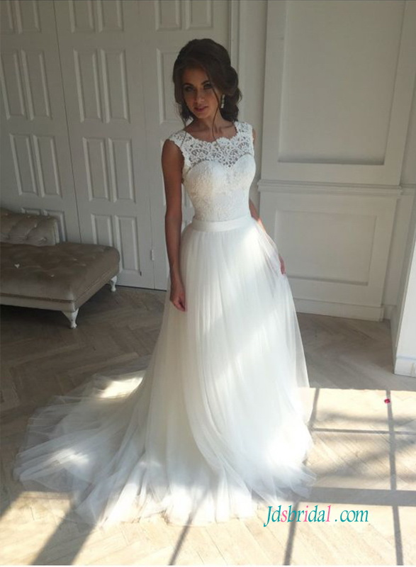 H1228 Simple lace bodice tulle bottom a line wedding dress