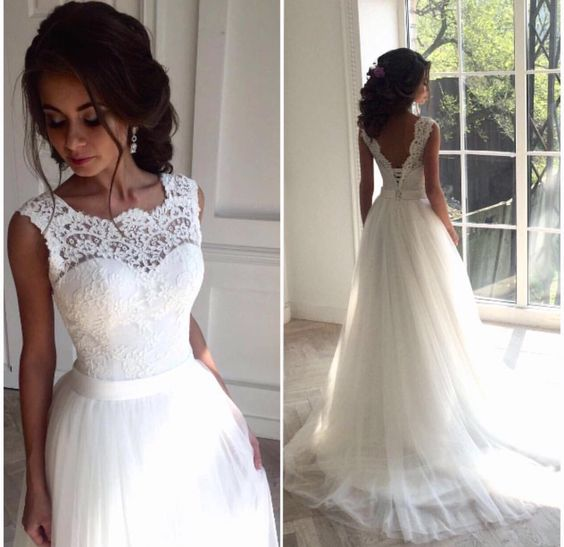 H1228 Simple lace bodice tulle bottom a line wedding dress :