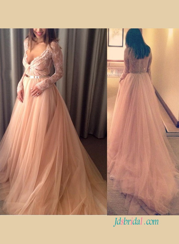 H1229 Sexy plunging see through blush tulle wedding dress
