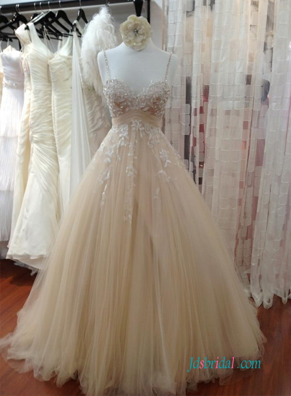 H1232 Champagne Beading thin straps tulle ball gown wedding dress
