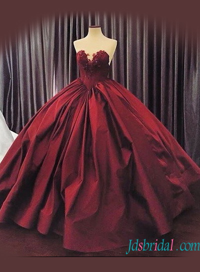 H1235 Y Sweetheart Neck Burgundy Colore Ball Gown Wedding Dress