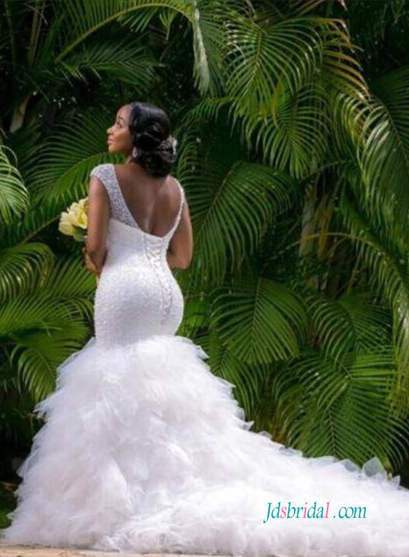 H1237 Sexy curvy beading mermaid wedding dress with ruffles