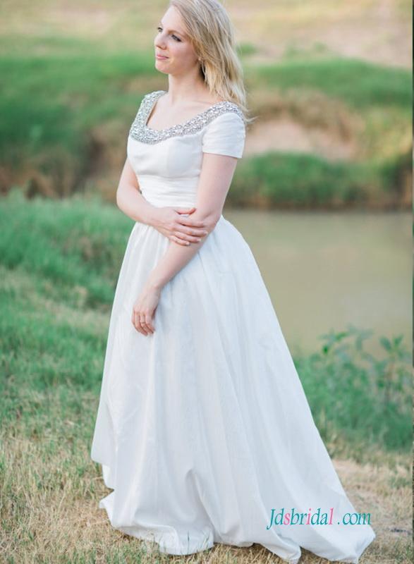 H1240 Garden casual Taffeta a line wedding dress with ...