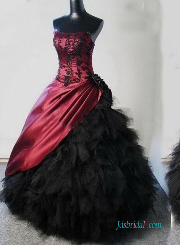 H1244 Gothic Burgundy And Black Ball Gown Wedding Dress