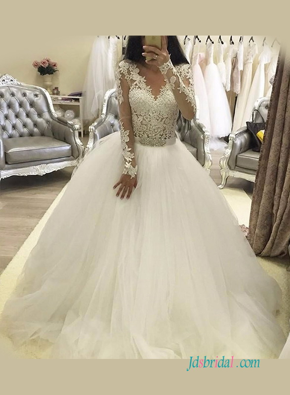 H1245 Sexy illusion lace long sleeves ball gown wedding dress