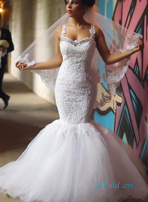 H1247 Sexy sheer back lace mermaid wedding bridal dress
