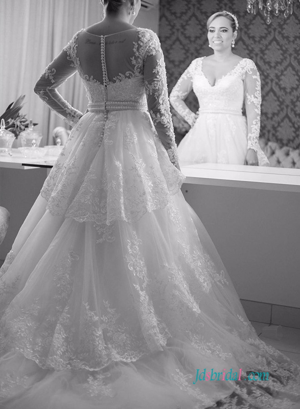 Romantic Sheer Back Long Sleeved Lace Ball Gown Wedding Dress With Tiered Train