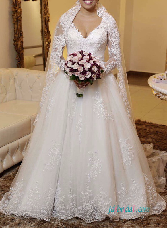 H1248 Romance sheer back lace wedding dress with sleeves