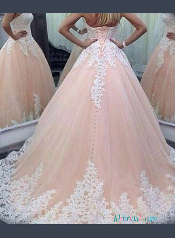 H1249 Blush Sweetheart princess pink colored ball gown wedding dress