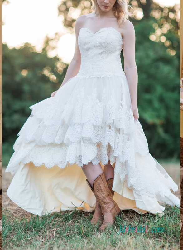 H1250 Strapless bohemian high low wedding dress with tiered skirt