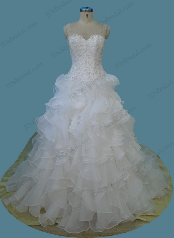H1254 Sweetheart neck lace bodice ruffles ball gown wedding dress