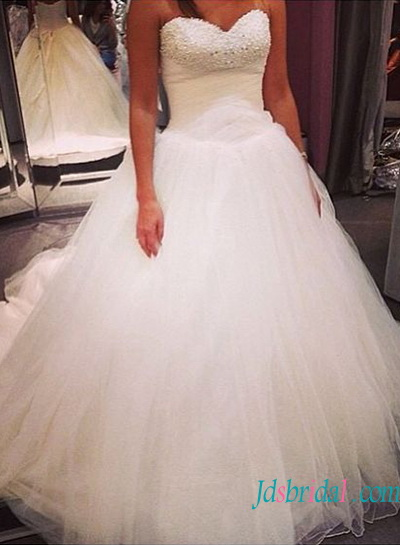 H1330 Strapless beading detailed princess tulle wedding dress
