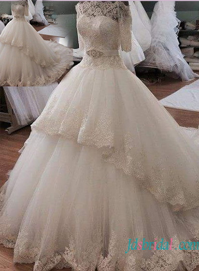 H1333 Beautiful illusion lace off shoulder princess ball gown wedding dress