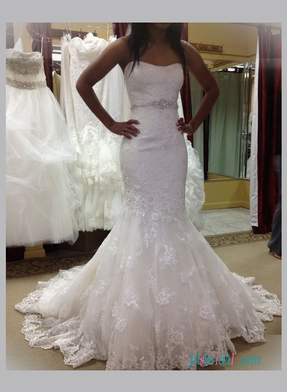 H1334 Strapless lace flare mermaid wedding bridal dress