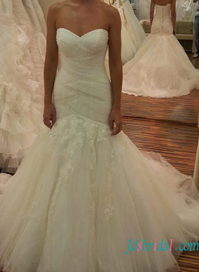 H1339 Sexy sweetheart neck mermaid tulle fashionable wedding dress