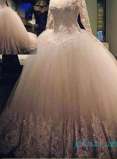 H1340 Gorgeous beaded lace tulle princess ball gown wedding dress