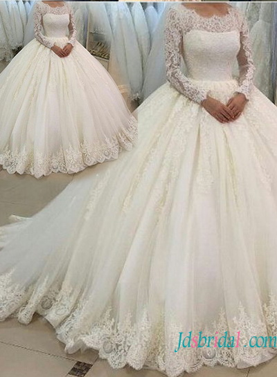 H1341 Modest long sleeves lace ball gown wedding dress