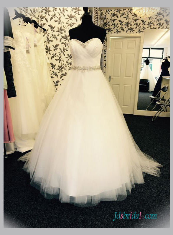 H1342 Simply princess tulle ball gown wedding dresses 2016