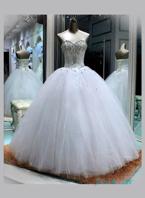 H1345 sweetheart neckline white princess ball gown wedding for White sparkly wedding dress