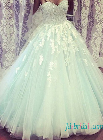 H1348 Beautiful Ivory lace and light blue princess tulle wedding dress