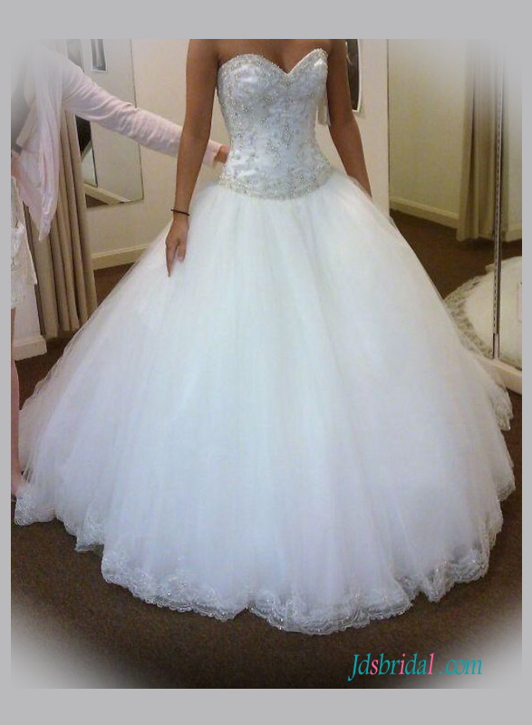 H1350 White Silvery Beaded Tulle Princess Wedding Gowns