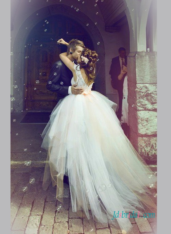 H1352 Fairytale ethereal high low tulle wedding bridal dress