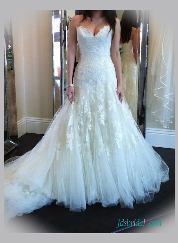 H1353 Most beautiful strapless lace trumpet wedding dresses :