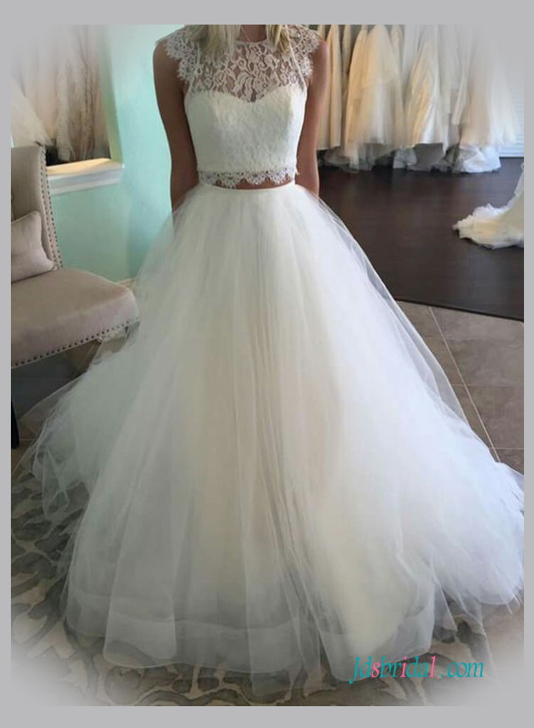 Two pieces wedding dresses separated tulle lace wedding skirts for Wedding dresses with tulle skirts