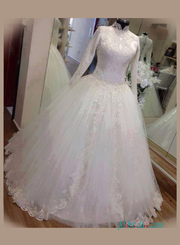 H1356 Modest high neck long sleeved ball gown wedding dress