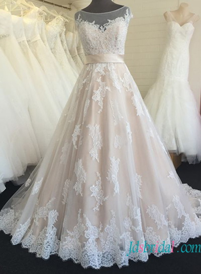 H1357 Beautiful sheer tulle bateau neck champagne colored wedding dress