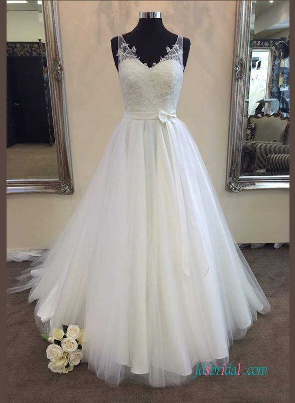 beautiful illusion tulle strappy v neck a line wedding dress with lace bodice