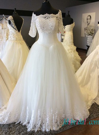 H1362 Beautiful two pieces princess ball gown with lace bolero