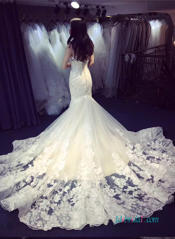 H1368 sexy one shoulder lace mermaid wedding dress