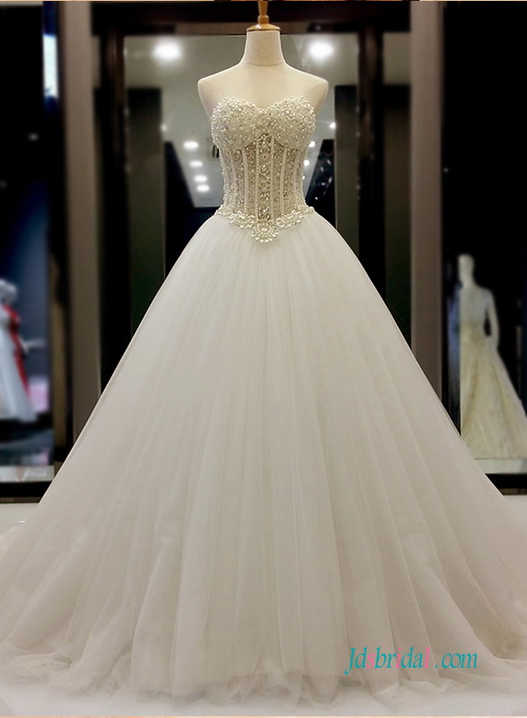 Wedding Dresses With Illusion Bodice : H sexy illusion beading bodice with tulle bottom