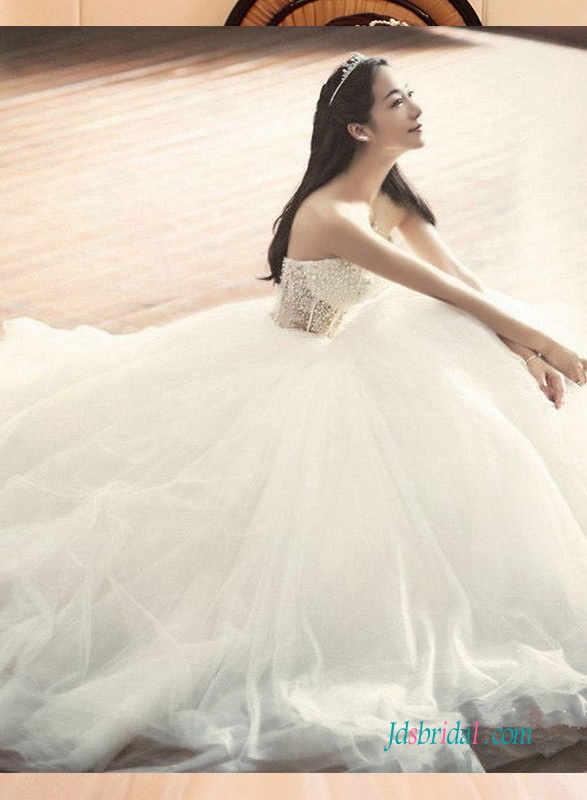H1372 Sexy illusion beading bodice with tulle bottom princess wedding dress