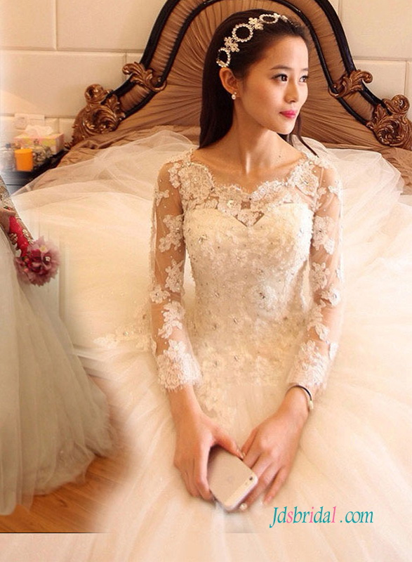 H1373 Dreamy beaded lace appliqued illusion lace long sleeved princess wedding dress