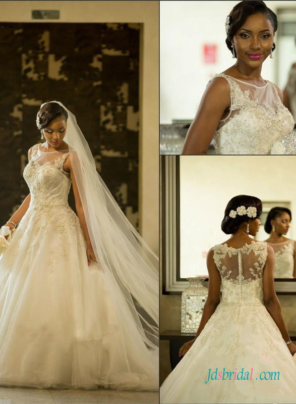 H1374 Beautiful sheer bateau neck princess ball gown wedding dress