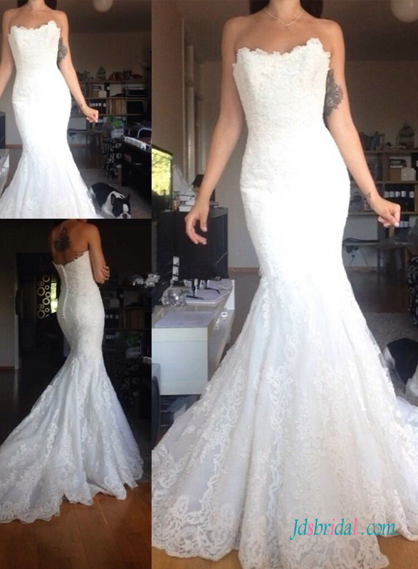 H1375 Classic Strapless mermaid lace wedding dress