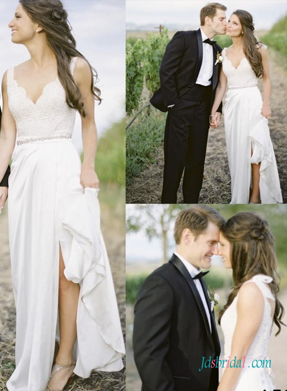 H1376 Simple Slit Chiffon Boho Open Back Lace Wedding Dress