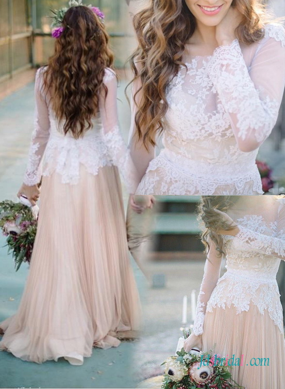 beautiful nude and white lace vintage inspired colored wedding dress with long sleeves