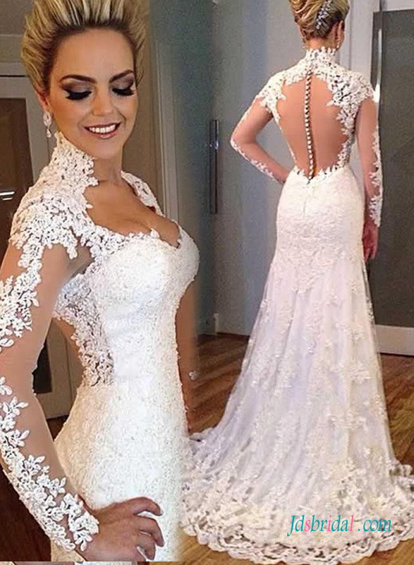 H1379 Sexy sheer tulle back plunging lace trumpet wedding dress
