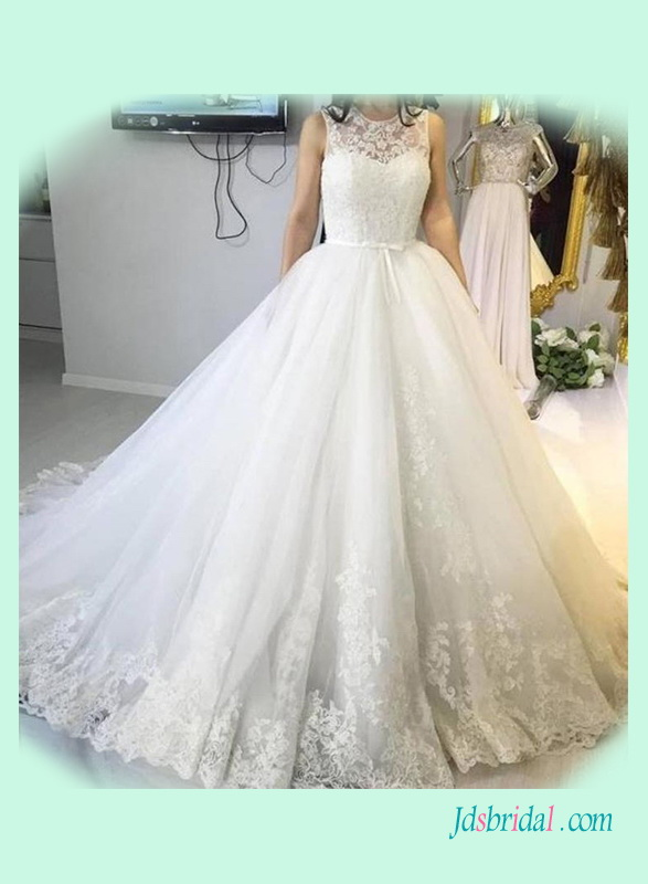 H1380 Illusion lace top puffy tulle princess wedding dress