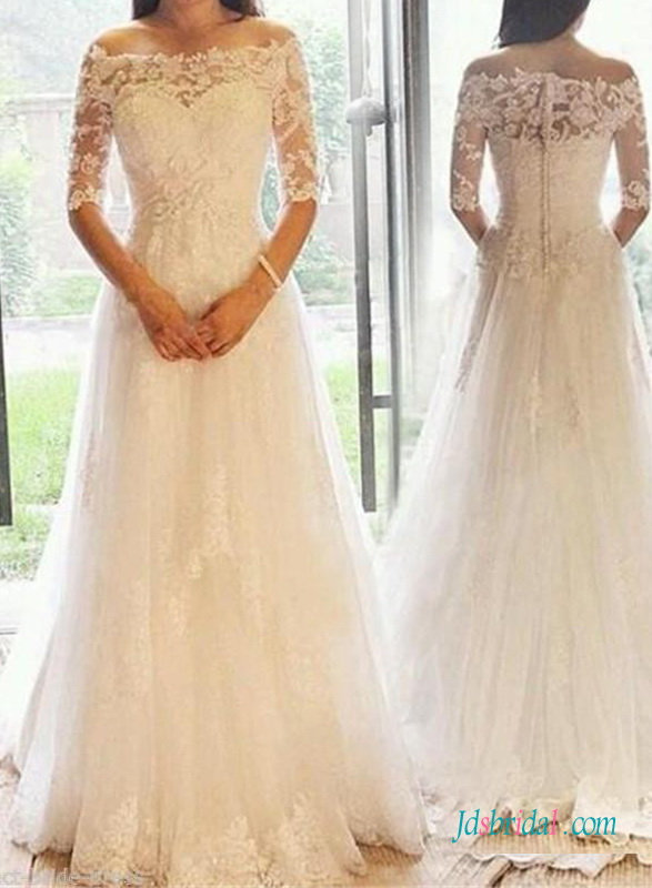 Half sleeve bridal gowns vintage wedding dresses with 1 2 for Wedding dress with illusion top