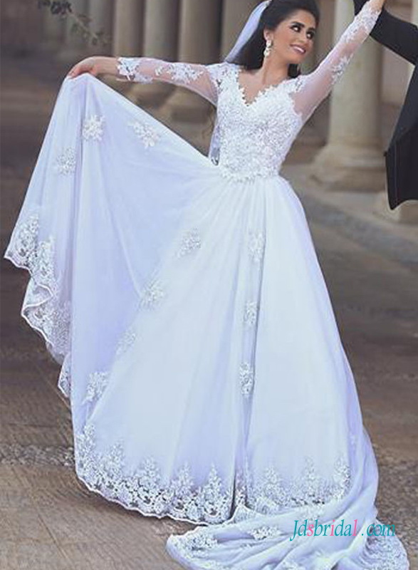 H1386 romance white chiffon lace detailed long sleeves for Long sleeve chiffon wedding dress
