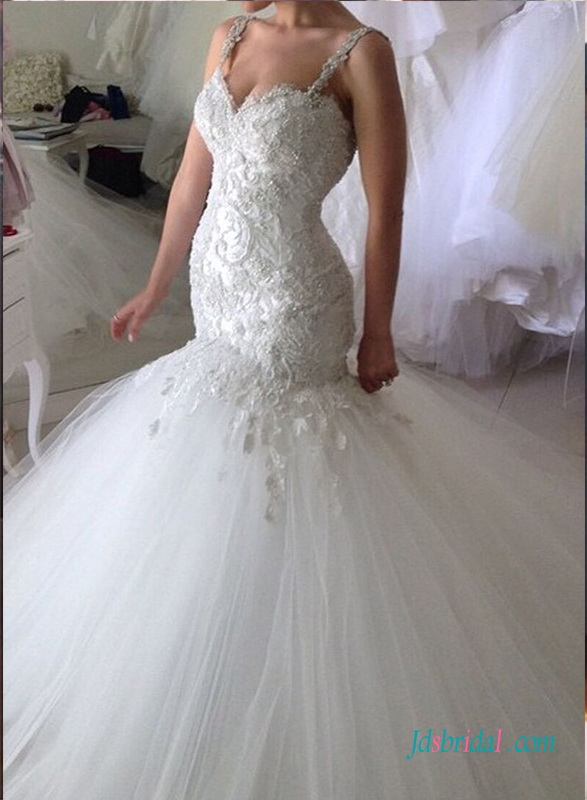 sexy beading lace appliuqes with flare tulle bottom mermaid wedding dress with strappy for curve women