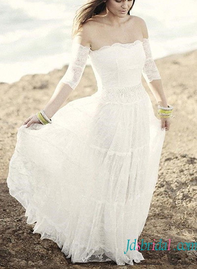 H1392 Ethereal Soft Lace Boho Beach Wedding Dress With Sleeves